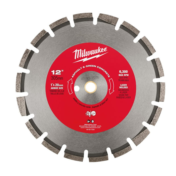 "Milwaukee 49-93-7235 12"" Asphalt & Green Concrete Segmented Saw Blade"