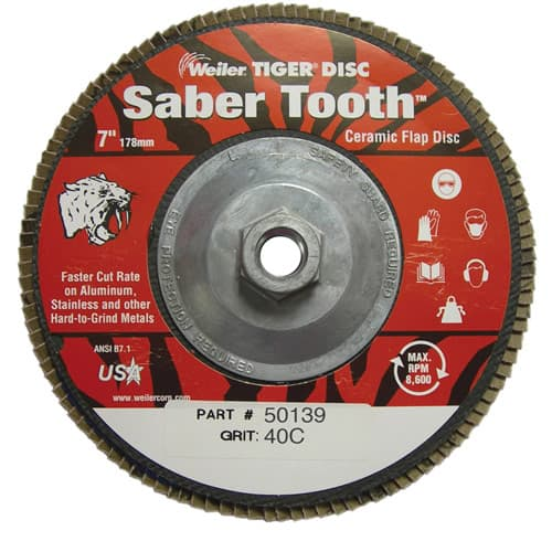 "Weiler 50139 7"" Saber Tooth High Density Ceramic Abrasive Flap Disc, 40 Grit, 5/8""-11, Pack/10"