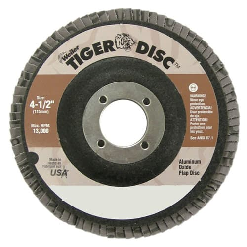 "Weiler 50665 4-1/2"" Tiger Disc Abrasive Flap Disc, Flat, Phenolic Backing, 80AO, 7/8"", Pack/10"