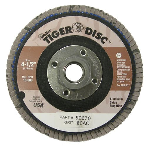 "Weiler 50670 4-1/2"" Tiger Disc Abrasive Flap Disc, Flat, Phenolic Backing, 80AO, 5/8""-11 A.H."
