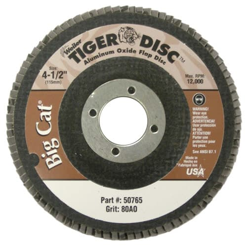"Weiler 50765 4-1/2"" Big Cat Abrasive Flap Disc, Phenolic Backing, 80AO, 7/8"" A.H., Packs of 10"