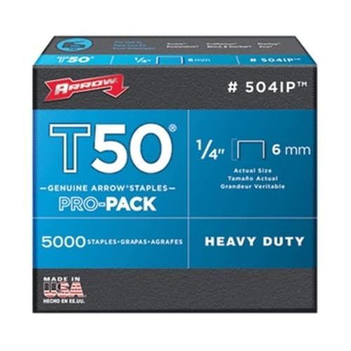 "Arrow 504IP 1/4"" 5,000 T50 Staples"
