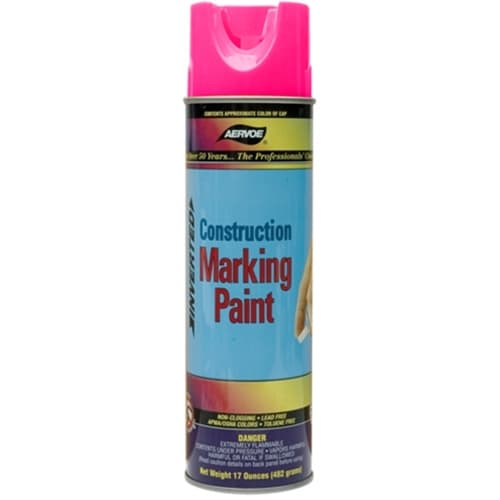 Aervoe 259 Lead Free Non-Clogging Flourescent Pink Construction Marking Paint Spray, 20 oz