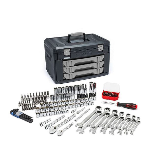 "GearWrench 80943 168 Piece 1/4 & 3/8"" Drive Mechanics Tool Set in 3-Drawer Storage Box"
