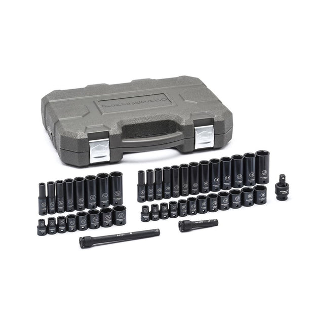 "GearWrench 84916N 44 PC Black Oxide Standard & Deep SAE/Metric 3/8"" Drive Impact Socket Set, 6 PT"