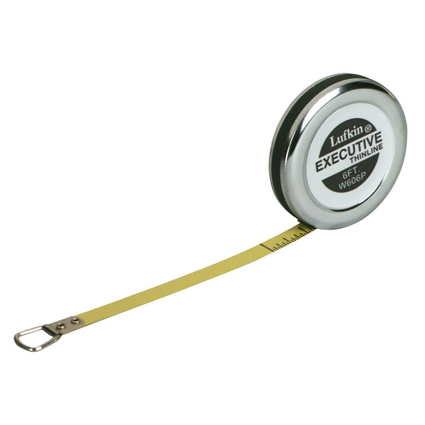 "Lufkin W606PD 1/4"" x 6' Executive Diameter Yellow Clad A19 Blade Pocket Engineer's Tape Measure"