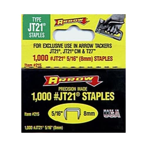 "Arrow 215 JT21/T27 5/16"" Staples (1,000/pk)"