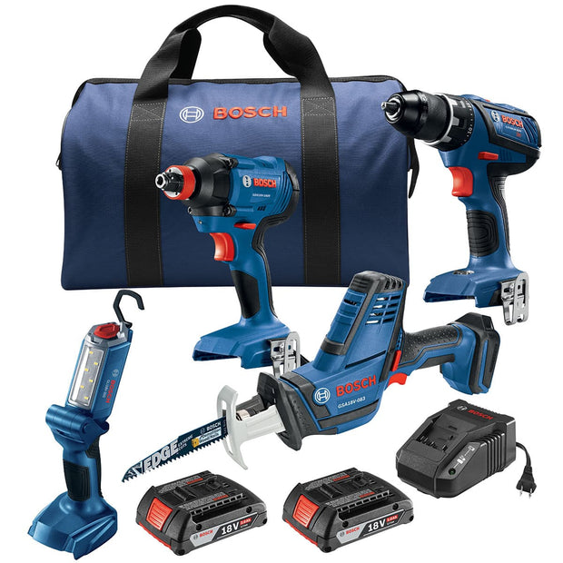 Bosch GXL18V-496B22 18V Cordless Drilling and Driving Pro Four-Tool Combo Kit