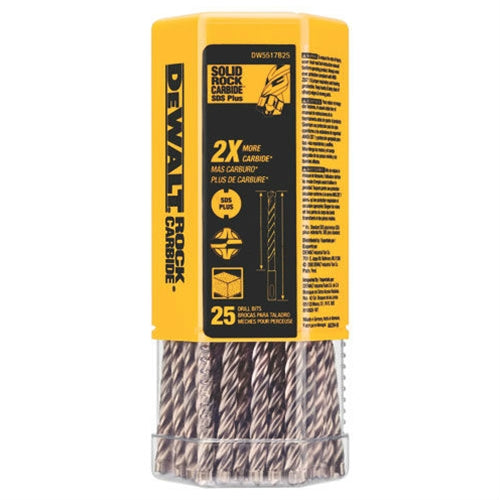 "DeWalt DW5518B25 DeWalt 1/4"" x 6"" x 8-1/2"" Solid Rock Carbide™ SDS+ (Bulk-25)"