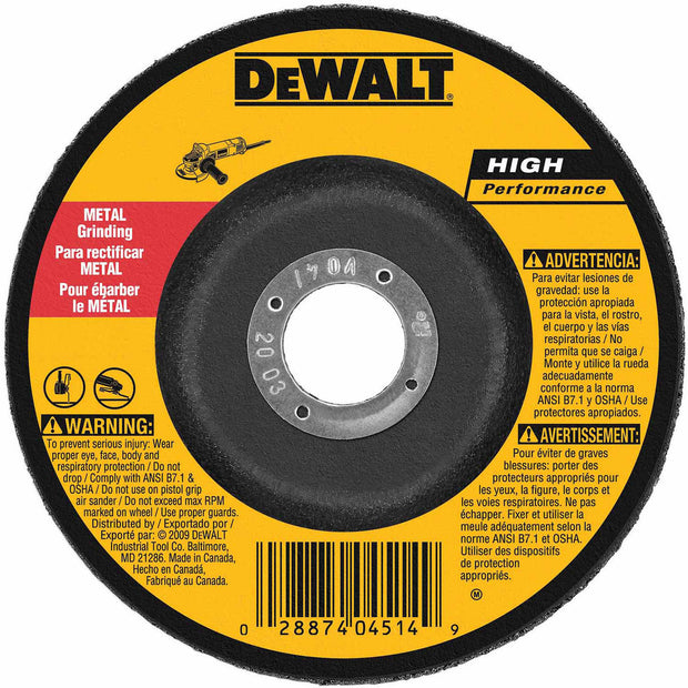 "DeWalt DW4624 6"" x 1/4"" x 7/8"" High Performance Metal Grinding Wheel"