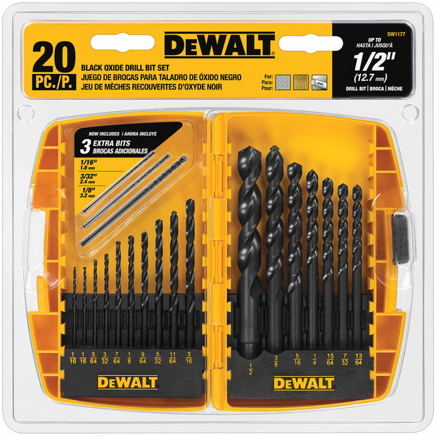 DeWalt DW1177 20 Piece Black Oxide Drill Bit Set