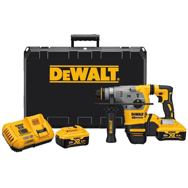 "DeWalt DCH293R2 20V MAX XR Brushless 1-1/8"" L-Shape SDS Plus Rotary Hammer Kit with 6.0Ah Batteries"