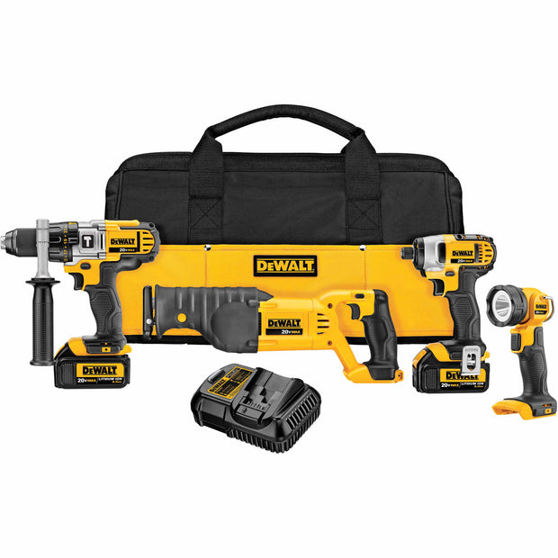 DeWalt DCK492L2 20V Max Premium Combo Kit With Hammerdrill, Recip Saw, Imp Driver, Flashlight
