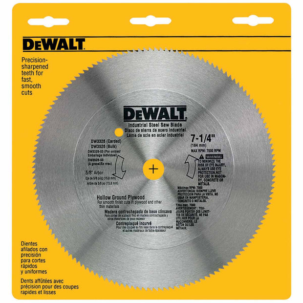 "DeWalt DW3326 7-1/4"" 140T Steel Hollow Ground Plywood Saw Blade"