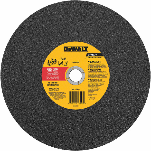 "DeWalt DW8022 12"" x 1/8"" x 1"" Metal Cutting High Speed Cut-Off Wheel"