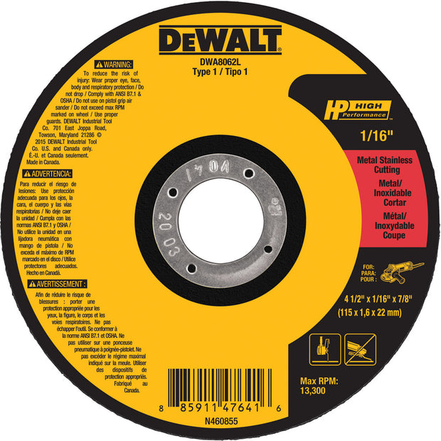 DeWalt DWA8062L 4-1/2 x 1/16 x 7/8 T1 HP Cut Off Wheel