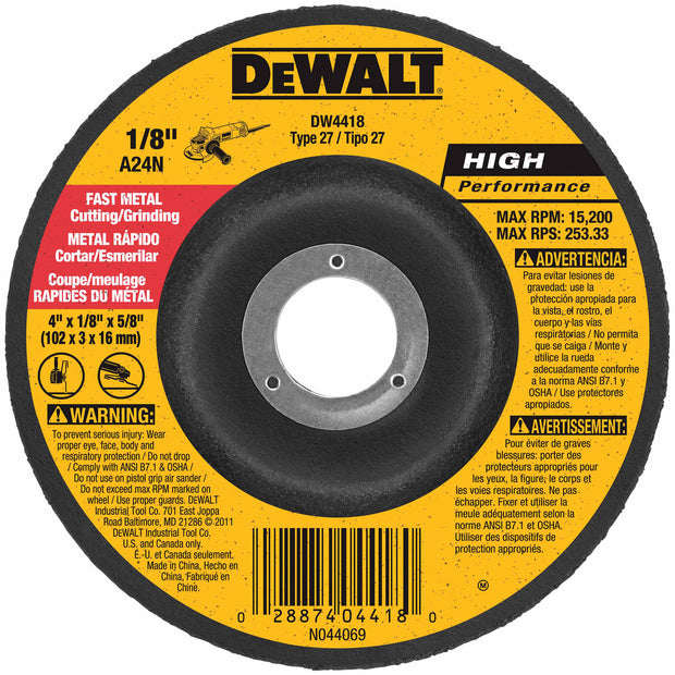 "DeWalt DW4418 4"" x 1/8"" x 5/8"" General Purpose Metal Cutting Wheel"