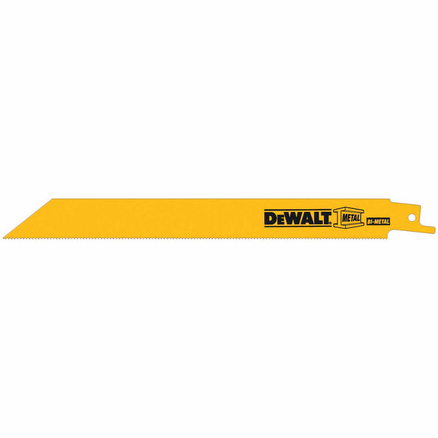 "DeWalt DW4821B 8"" 18 TPI Straight Back Bi-Metal Reciprocating Saw Blade, Metal Cutting"