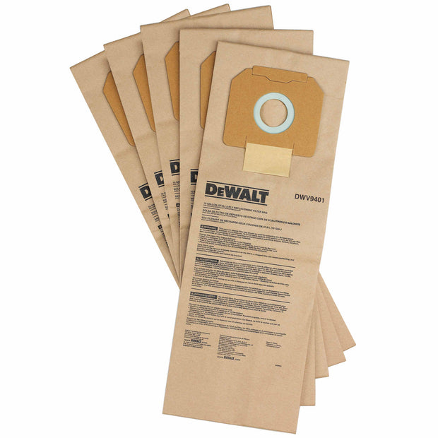 DeWalt DWV9401 Paper Dust Bags for DWV012 Dust Extractor, Pack of 5