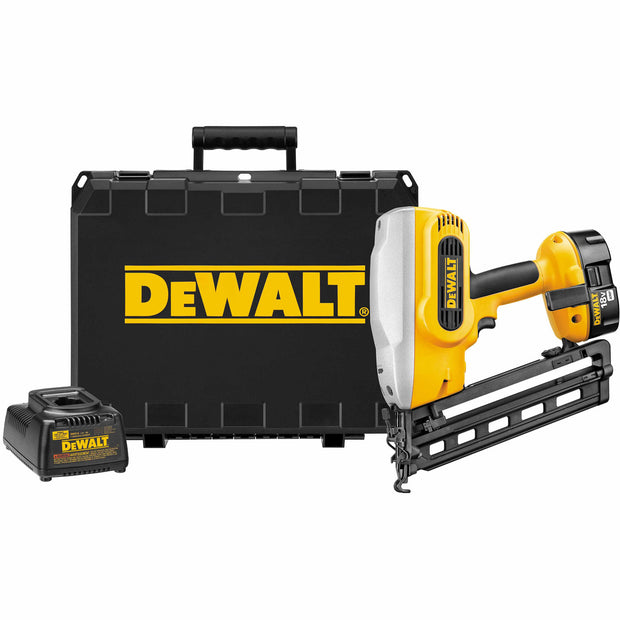 "DeWalt DC618K 18V Cordless Heavy-Duty XRP 1-1/4"" - 2-1/2"" 16 Gauge 20° Angled Finish Nailer Kit"