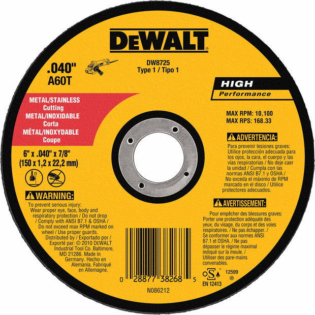 "DeWalt DW8725 6"" x .040"" x 7/8"" Thin Metal Cutoff"