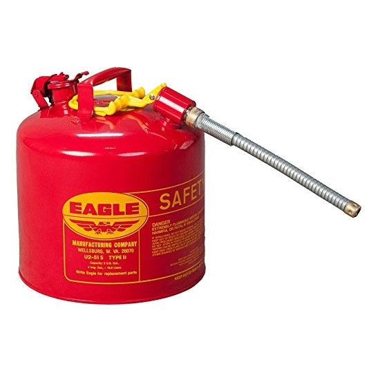"Eagle U2-51-S Red Type II Safety Can with 7/8"" O.D. Flex Spout"