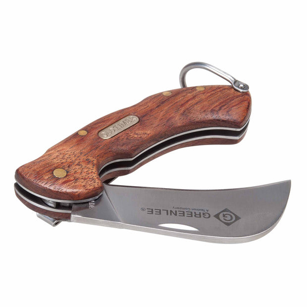 Greenlee 0652-28 Wood Handle SS Hawkbill Pocket Knife