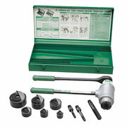 Greenlee 1904 Slug-Buster Ratchet Punch Driver Kit with 3 Draw Studs and Case