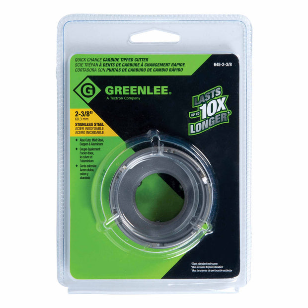 "Greenlee 645-2 2"" Quick Change Stainless Steel Carbide-Tipped Hole Cutter"