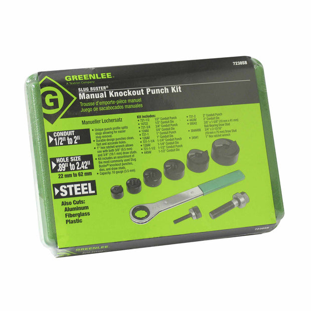 "Greenlee 7238SB Slug-Buster Knockout Kit with Ratchet Wrench 1/2"" thru 2"""