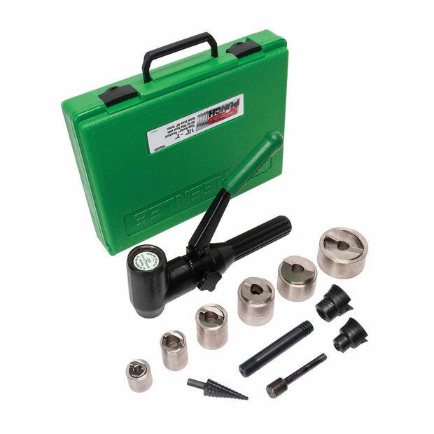 "Greenlee 7908SBSP SPEED PUNCH Kit with Quick Draw 90, 1/2"" to 2"" Conduit"