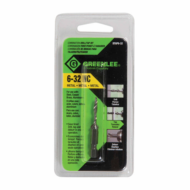 Greenlee DTAP6-32 DRILL/TAP, 6-32.