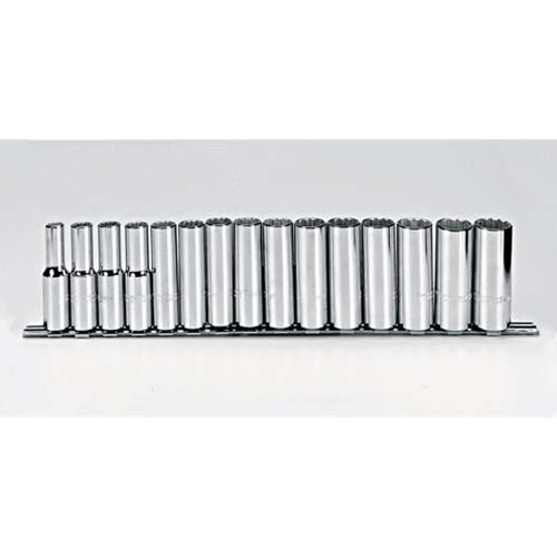 "Proto J54207 15-Pieces 1/2"" Drive Metric Chrome Socket Set, 12 Point"