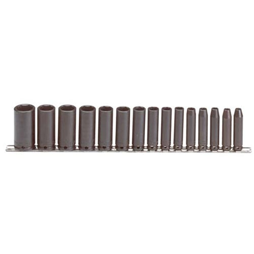 "Proto J72116 15-Pieces 6 Point 3/8"" SAE Black Oxide Hex Deep Impact Socket Set"