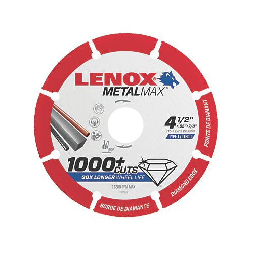 "Lenox 1972921 MetalMax Diamond Cutoff Wheel 4.5"" x 7/8"""