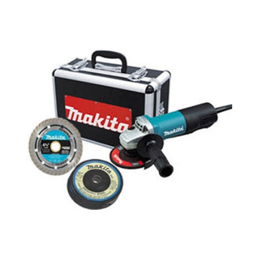 "Makita 9557PBX1 4-1/2"" Angle Grinder with Case, Diamond Blade and Grinding Wheels"