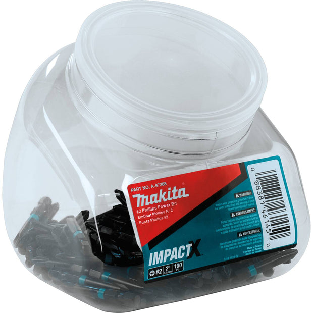 "Makita A-97368 ImpactX  #2 Phillips 2"" Power Bit, 100/pk, Jar"