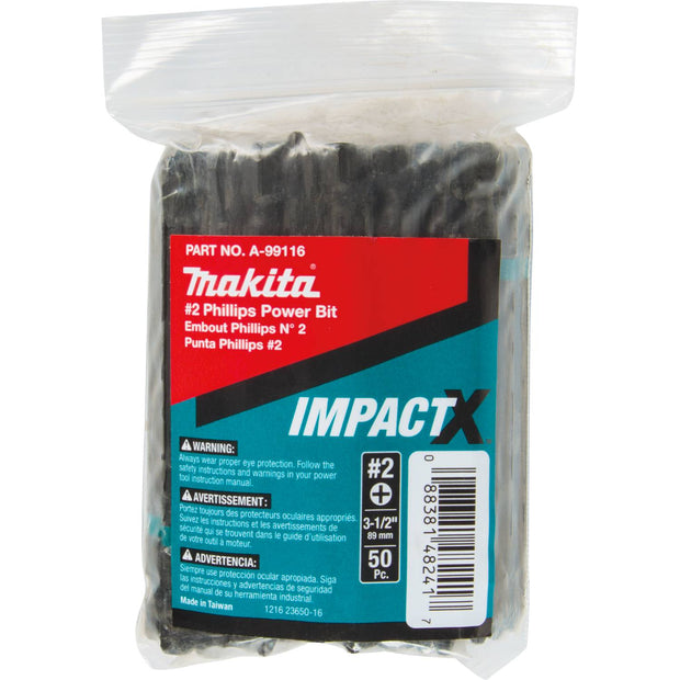 "Makita A-99116 ImpactX #2 Phillips 3-1/2"" Power Bit, 50/pk, Bulk"
