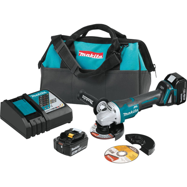 "Makita XAG11T 18V LXT Brushless 4-1/2"" / 5"" Cut-Off/Angle Grinder Kit"