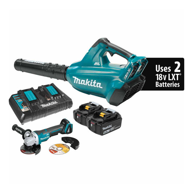Makita XBU02PTX1 18V X2 LXT (36V) Brushless Blower Kit 5.0Ah and Grinder