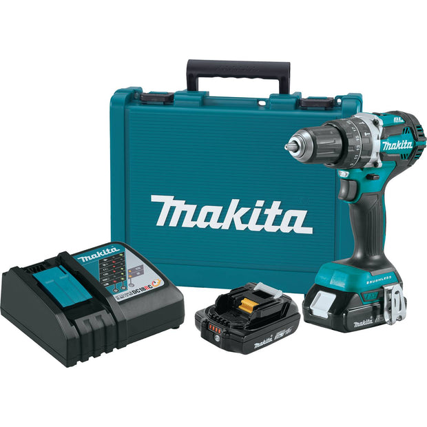 "Makita XPH12R 18V Li-Ion Comp Brushless 1/2"" Hammer Driver-Drill (2.0Ah)"