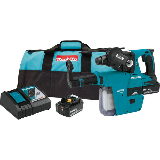 "Makita XRH011TX 18V LXT Li-Ion Brushless Cordless 1"" Rotary Hammer Kit, SDS-Plus, HEPA, 5.0 Ah"