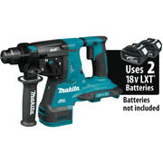 "Makita XRH10Z 18V X2 LXT Brushless 1-1/8"" Rotary Hammer, SDS-Plus Bits"