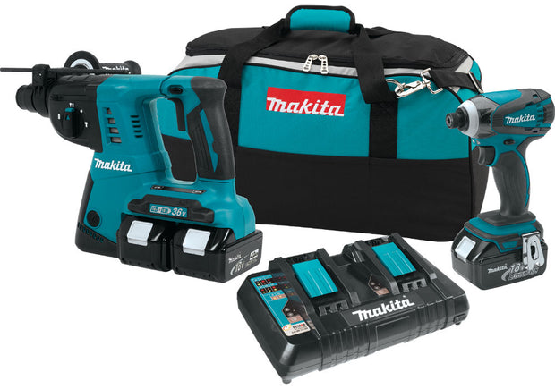 Makita XT258PMB LXT X2 18-Volt Li-Ion Brushless Cordless Combo Kit (2-Tool)