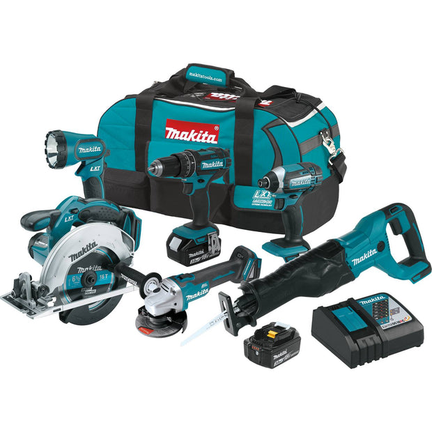 Makita XT610 18V LXT Li-Ion Cordless 6-pc Tool Combo Kit (3.0Ah)