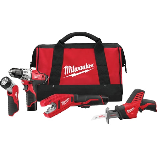 Milwaukee 2499-24 M12™ 4 - Tool Combo Kit with Drill, Hackzall™ Recip Saw, Copper Tubing Cutter & Flashlight