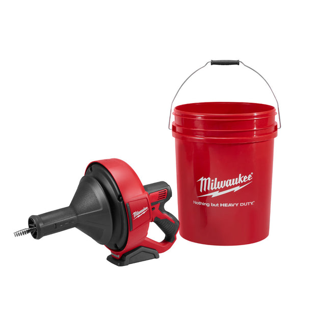 "Milwaukee 2571-20 M12 Drain Snake, 5/16"" x 15' Bulb Cable, Storage Bucket"