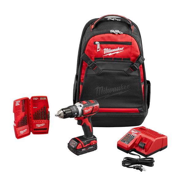 Milwaukee 2606-21BP M18 Drill Starter Kit with Bits and Bag