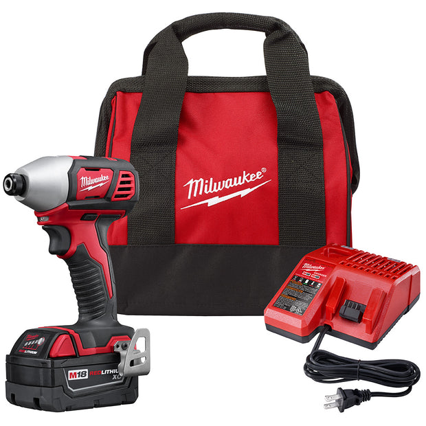 "Milwaukee 2656-21P M18 1/4"" Hex Impact Driver Kit with 1 XC Battery"
