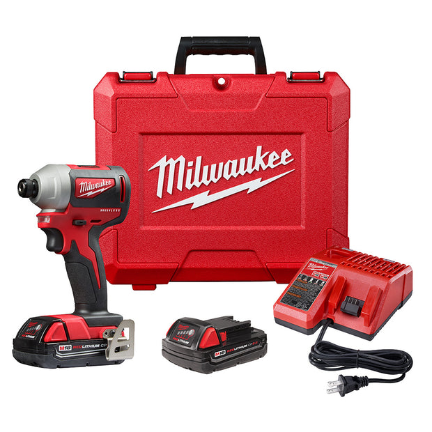 "Milwaukee 2850-22CT M18 Compact Brushless 1/4"" Hex Impact Driver Kit"